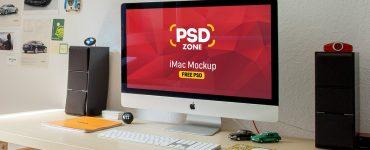 iMac Workstation Mockup Free PSD