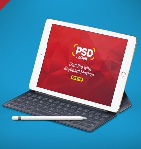 iPad Pro with Keyboard Mockup PSD