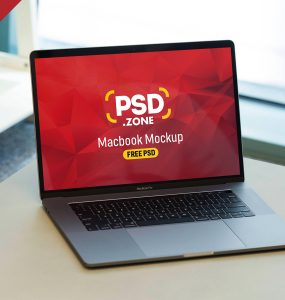 MacBook Pro on Wooden Desk Mockup