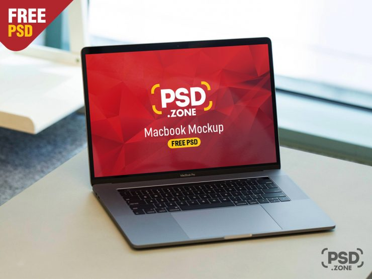 MacBook Pro on Wooden Desk Mockup