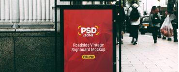 Roadside Vintage Signboard Mockup