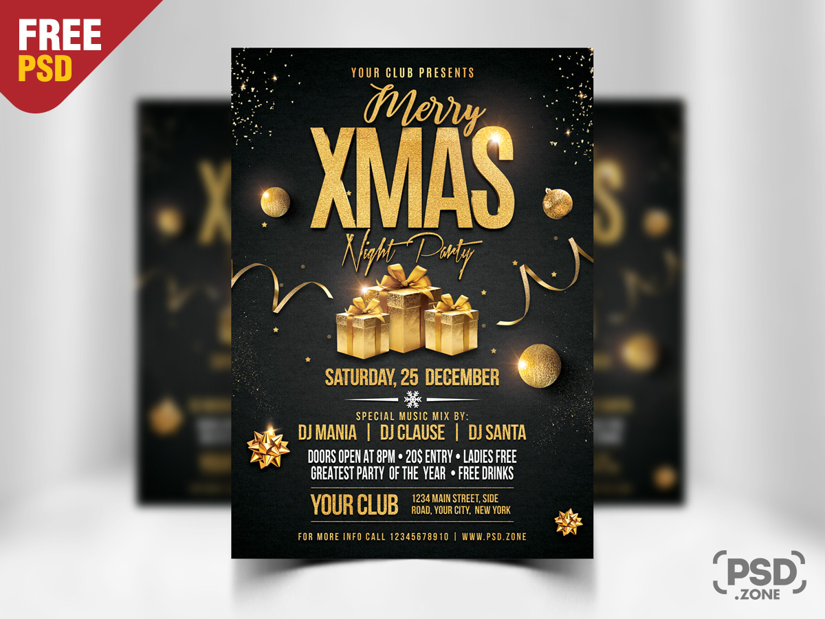 christmas party flyer psd template psd zone