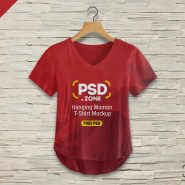 Hanging Woman T-shirt Mockup PSD