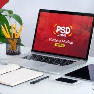 Macbook on Desk Mockup PSD