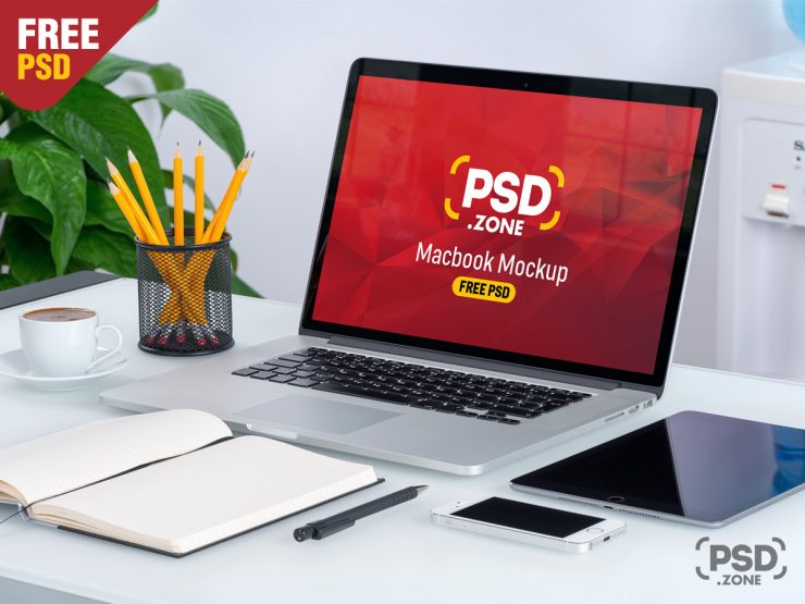 Macbook on Desk Mockup PSD