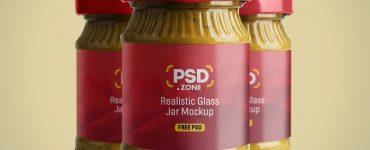 Realistic Glass Jar Mockup PSD