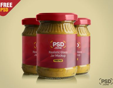 Realistic Glass Jar Mockup PSD
