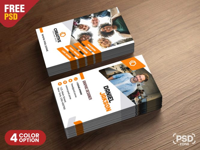 Vertical Business Card Design Free PSD