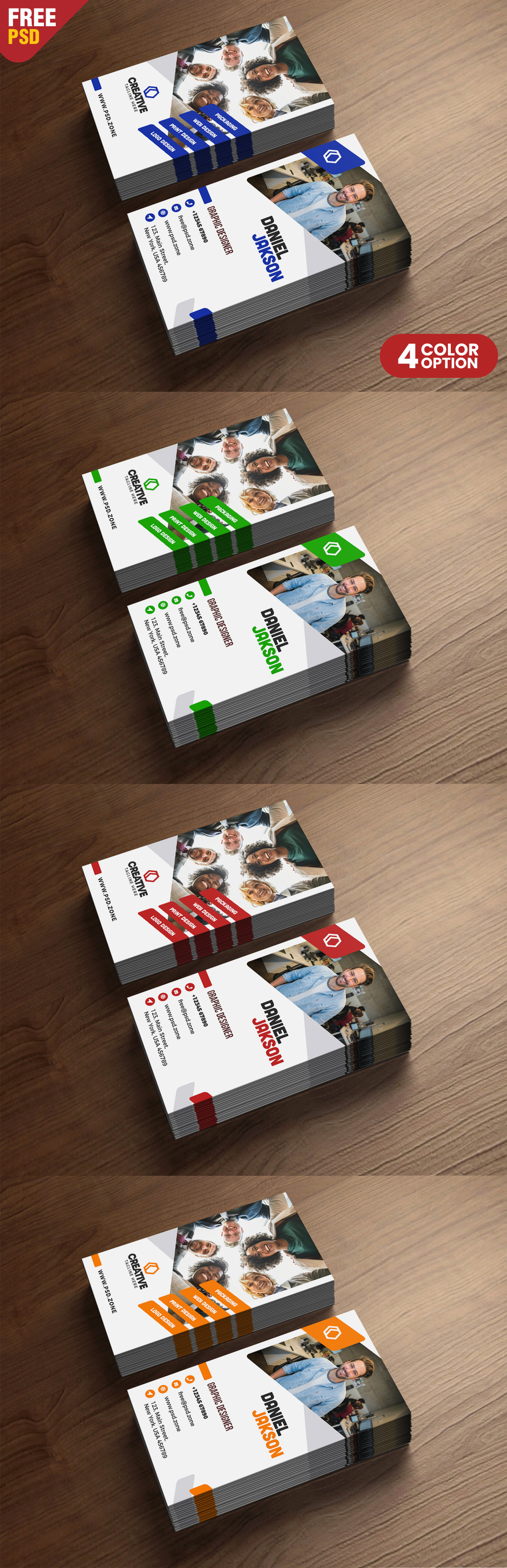 Vertical Business Card Design Free PSD