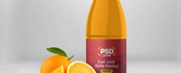 Juice Bottle Label Mockup PSD