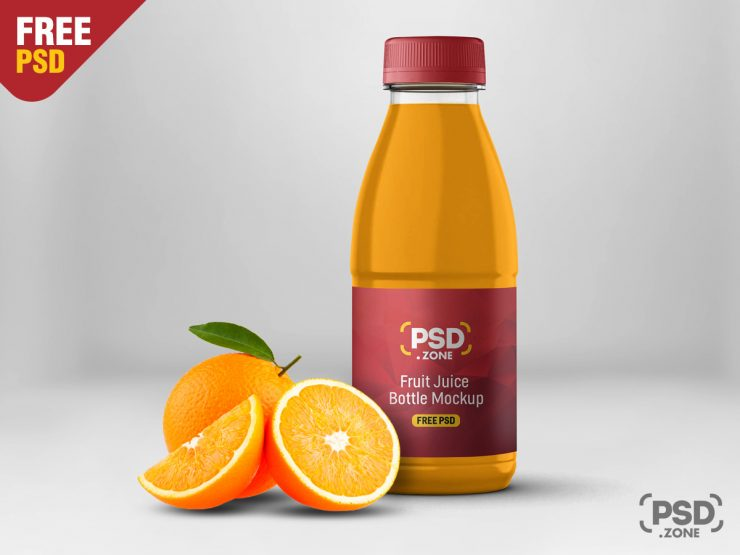 Juice Bottle Label Mockup PSD