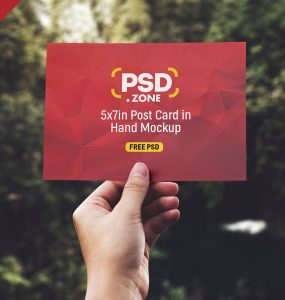 PSD Hand Holding Post Card Mockup