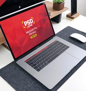 PSD MacBook Pro on Desk Mockup