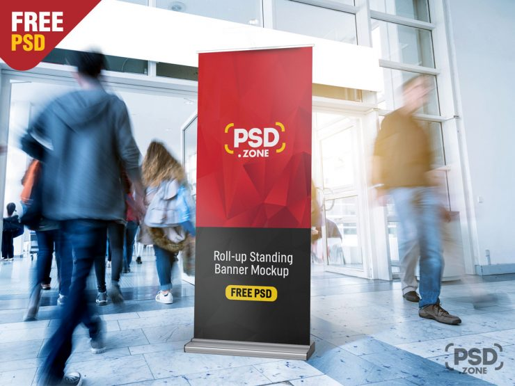 Roll-Up Standing Banner Mockup PSD