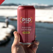 Hand Holding Aluminum Can Mockup PSD