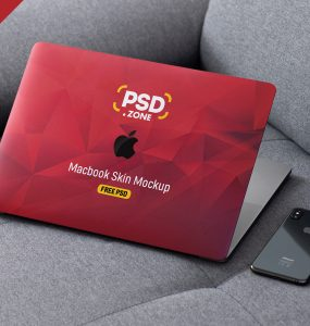 MacBook Pro Skin Design Mockup PSD