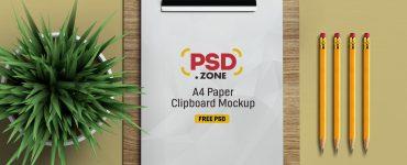 PSD A4 Paper Clipboard Mockup