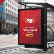 Bus Shelter Advertising Board Mockup PSD