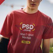 Man T-Shirt Design Mockup PSD