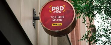Round Wall Mounted Sign Board Mockup