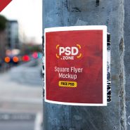 Square Flyer on Wall Mockup PSD