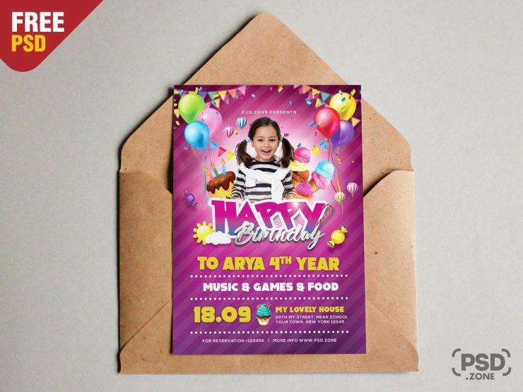 A5 Birthday Invitation Card PSD