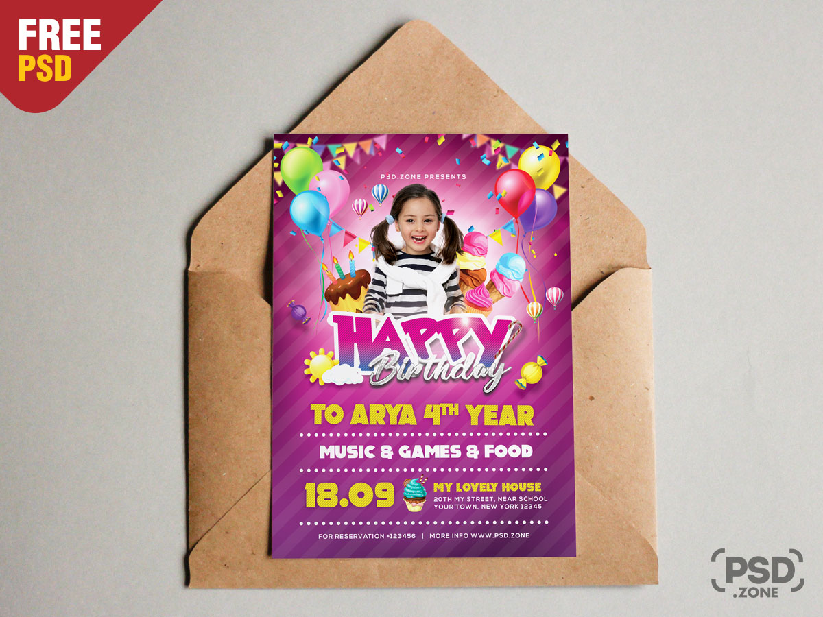 A5 Birthday Invitation Card Psd Psd Zone
