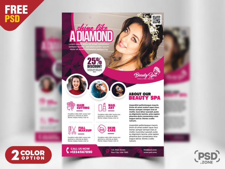 Beauty Salon Flyer Template PSD