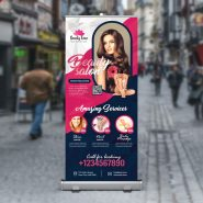 Beauty Salon Roll Up Banner PSD