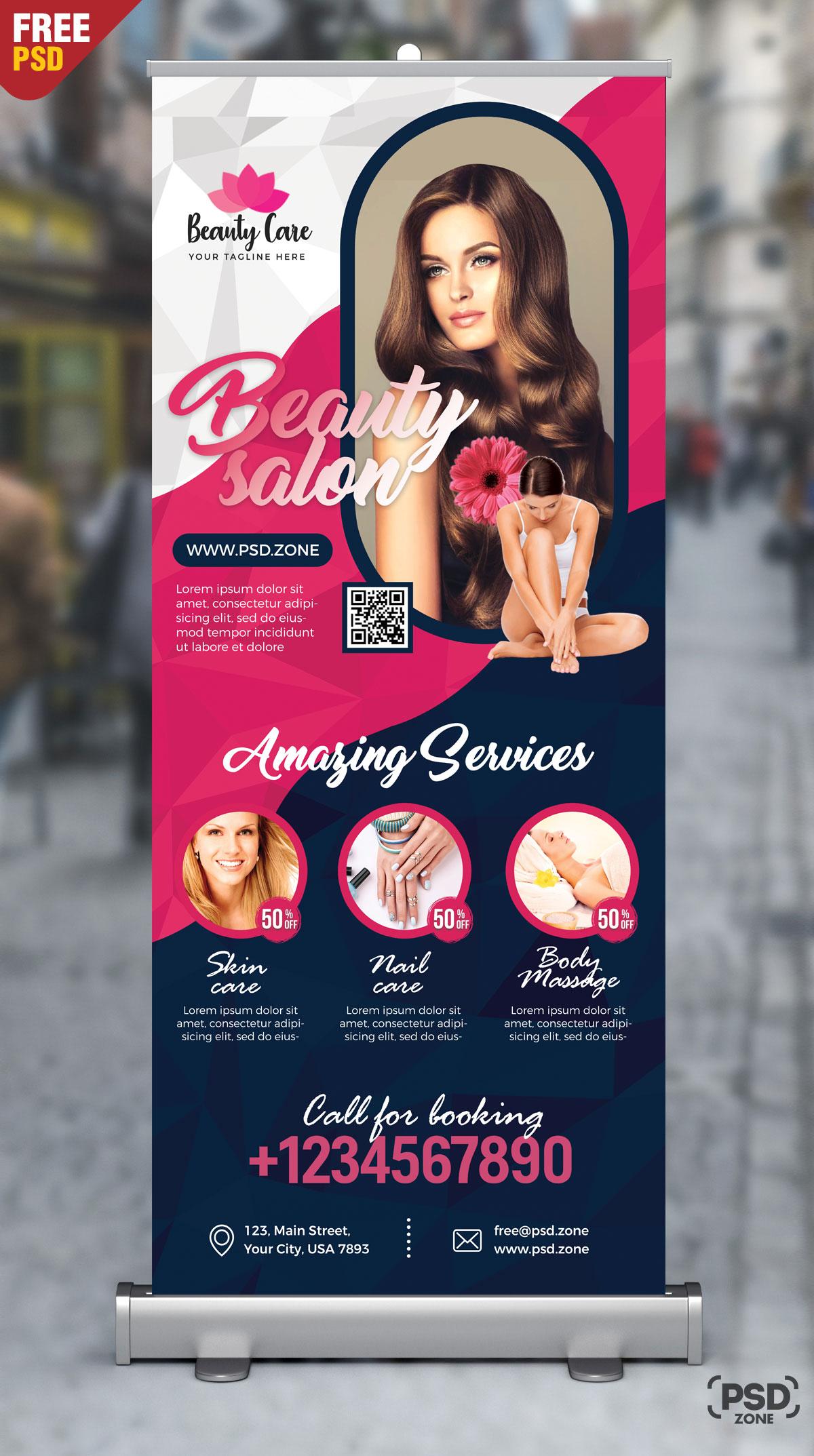 Beauty Salon Roll Up Banner PSD