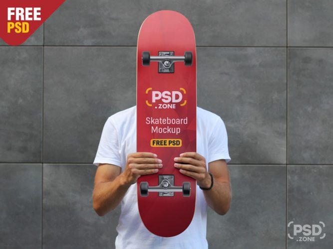 Hand Holding Skateboard Mockup PSD