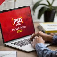 MacBook Pro in Office Mockup PSD