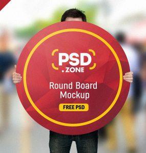 Man Holding Round Board Mockup