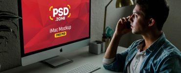 Man using iMac Mockup PSD