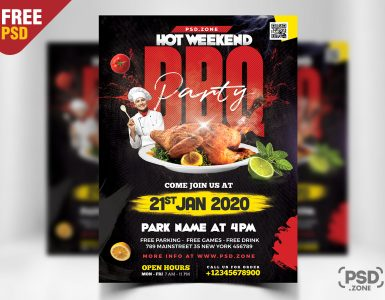 Weekend BBQ Party Flyer Template PSD