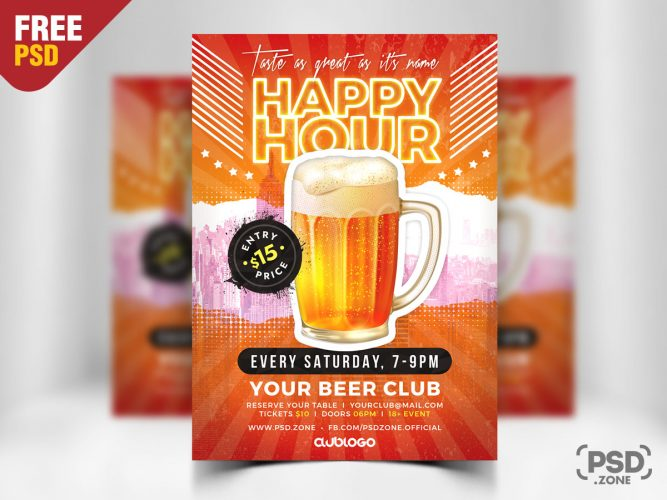 Happy Hour Promotion Flyer PSD Template