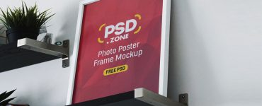 Photo Frames on Shelf Mockup PSD