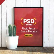 Photo Poster Frame with Flower Pot Mockup