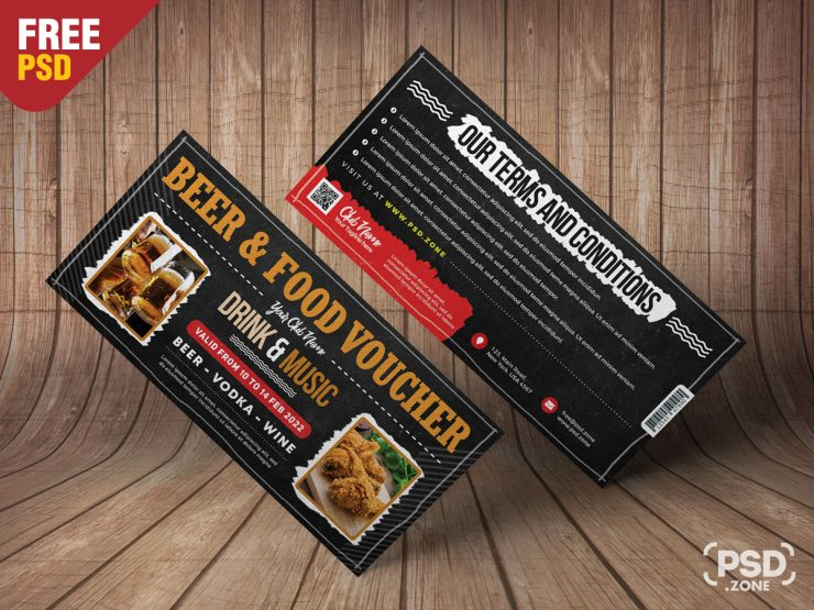 Beer and Food Voucher Template PSD