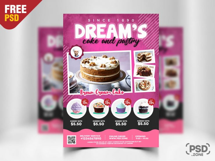 Cake and Pastry Shop Flyer PSD