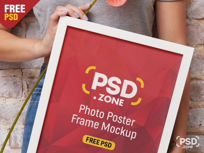 Girl Holding Frame Mockup PSD