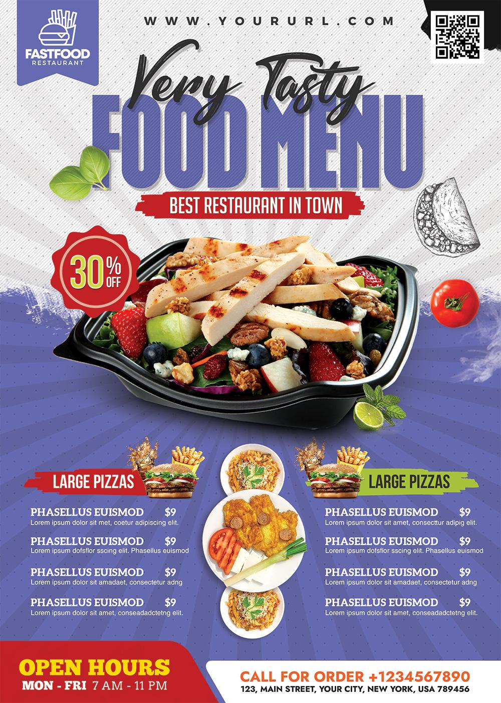 Restaurant Food Menu Flyer PSD