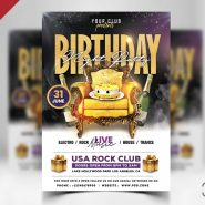 Birthday Night Party Flyer PSD