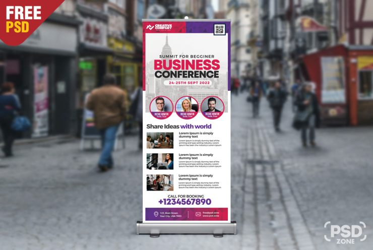 Business Conference Roll Up Banner PSD