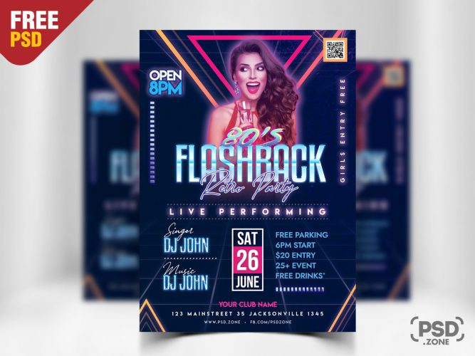 Retro Party Flyer PSD Template