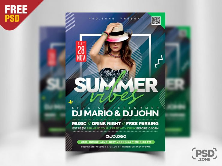 Summer Party Flyer Design PSD