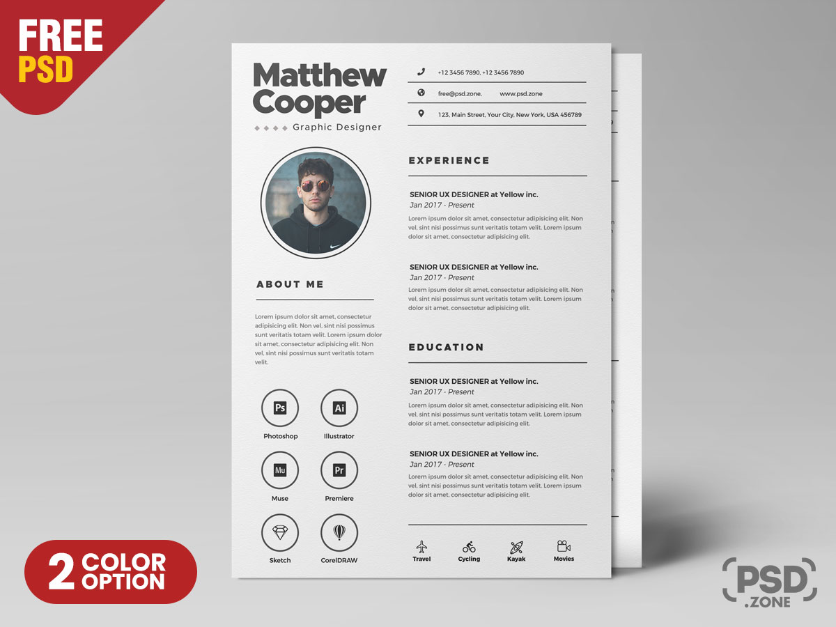 Clean Resume Template Psd Psd Zone