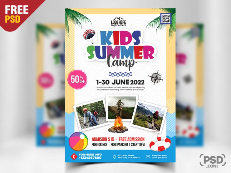 Kids Summer Camp Flyer PSD