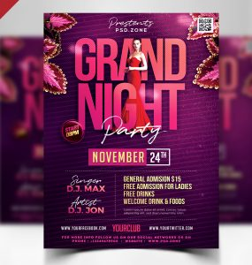 Grand Night Party Flyer PSD