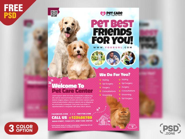 Pet Care Flyer PSD Template